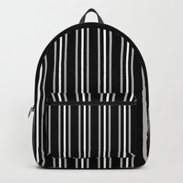 Silver and White Three Stripes Pattern on Black | Vertical Stripes | Backpack