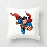 superman Throw Pillows featuring Superman by Yuliya L