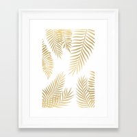 Framed Art Prints featuring Gold palm leaves by Marta Olga Klara