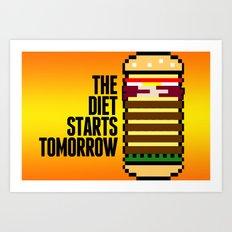 Diet Burger Art Print