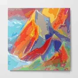 Abstract colorful Mountains at sunset Metal Print