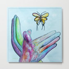 American Sign Language BUTTERFLY Metal Print