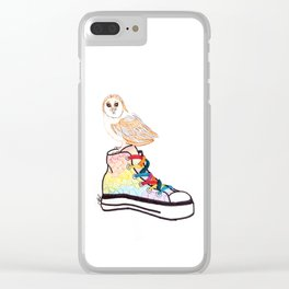 Owl on sneaker Clear iPhone Case
