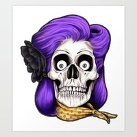 rockabilly Art Prints featuring Rockabilly Skull by Mark Matlock