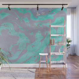 Mauve and Teal Marble Pattern Wall Mural