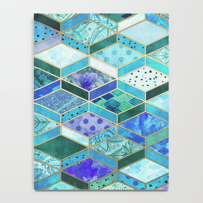 Sapphire & Emerald Diamond Patchwork Pattern Notebook
