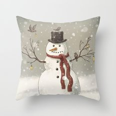 Christmas Snowman  Throw Pillow