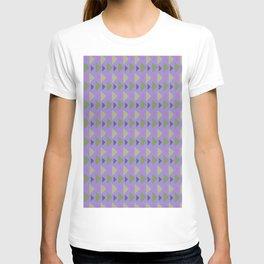 Geometrical purple green hand painted triangles pattern T-shirt