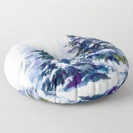 Watercolor winter fir forest Merry Christmas Floor Pillow