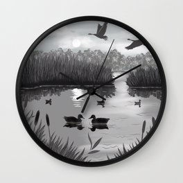 The Pond Black and White Wall Clock