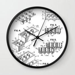 Legos Patent - Legos Brick Art - Black And White Wall Clock