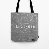 engineer Tote Bags featuring GRAY - ENGINEER  by Be Raza
