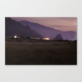 "Landscape Fine Art Print - Purple, Orange, Blue Black - Night Photograph - ""Gold Beach Sunset"" Canvas Print"
