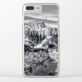 Castle in the sky in black and white - Water Canyon Clear iPhone Case