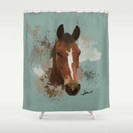 Brown and White Horse Watercolor Light Shower Curtain