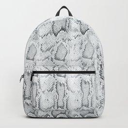 Black White Snake Skin Print Backpack