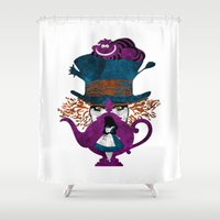 alice in wonderland Shower Curtains featuring Wonderland by Vitalitee