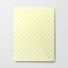 Small Checkered - White and Pastel Yellow Metal Print