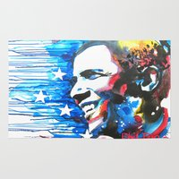 obama Area & Throw Rugs featuring Obama White by Phil Fung
