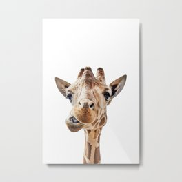 Funny Giraffe Portrait Art Print, Cute Animals, Safari Animal Nursery, Kids Room Poster Metal Print