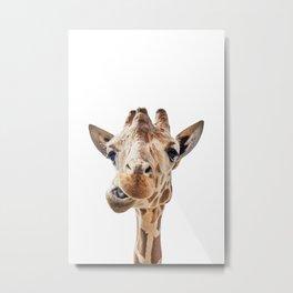 Funny Giraffe Portrait Art Print, Cute Animals, Safari Animal Nursery, Kids Room Poster Metal Print
