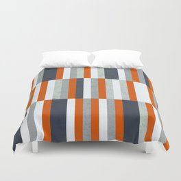Orange, Navy Blue, Gray / Grey Stripes, Abstract Nautical Maritime Design by Duvet Cover