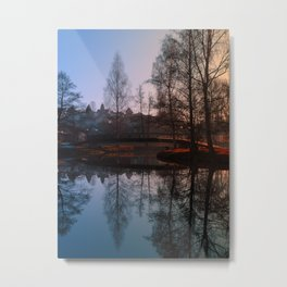 A bridge, the river and reflections III | waterscape photography Metal Print