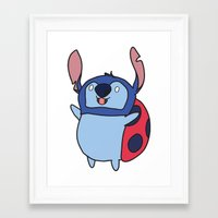 catbug Framed Art Prints featuring Catbug / Stitch by Ilse S