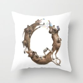 Q is for Quokkas! Laugh-A-Bit Alphabet Watercolor Animal Series by BirdsFlyOver Throw Pillow