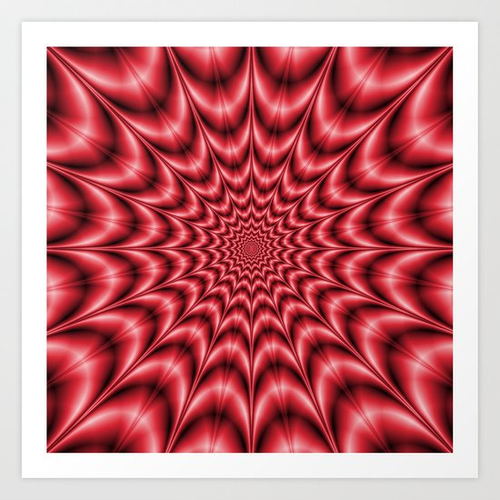 Psychedelic Explosion In Red Art Print