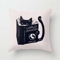 reading Throw Pillows featuring World Domination For Cats by Tobe Fonseca