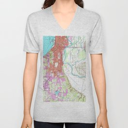 Vintage Map of Everett Washington (1953) Unisex V-Neck