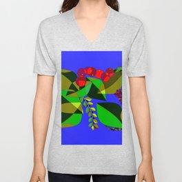 Pomegranates, Grapes, Blue Berries and Olives Unisex V-Neck