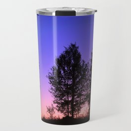 Nightfall. Purple and pink sky in the forest after sunset. Travel Mug