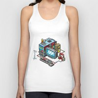 computer Tank Tops featuring 8bit computer by Sergey Kostik
