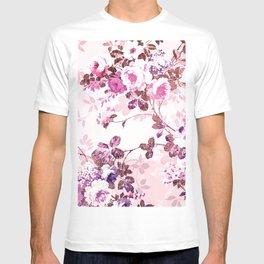 Elegant blush pink rose gold floral T-shirt