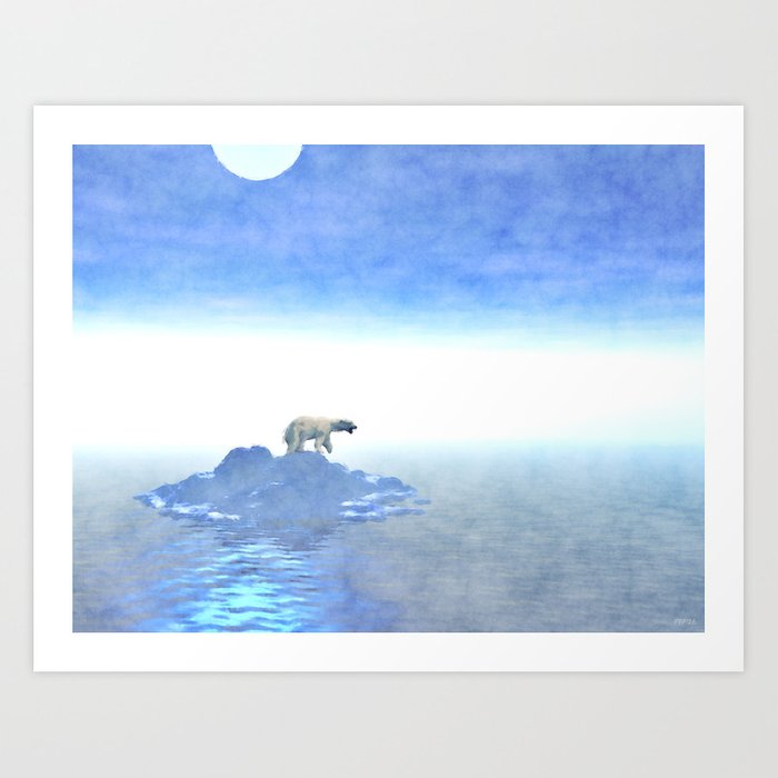 Polar Bear On Iceberg Art Print