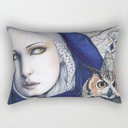 Wisdom Owls Fantasy Art Woman Rectangular Pillow