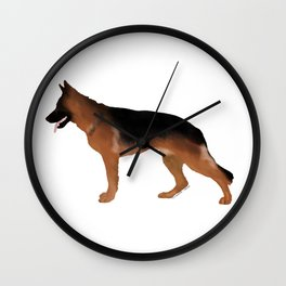 German Shepherd: Red & Black Wall Clock