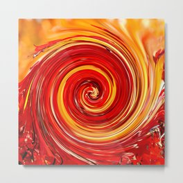 AUTUMN SWIRL - BRIGHT RED AND ORANGE FALL LEAVES Metal Print