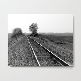 Black and white train track photo Metal Print