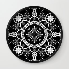 Scarab tile line pattern with black Background Wall Clock