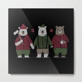 My Bear's Valentine Three Bears Metal Print