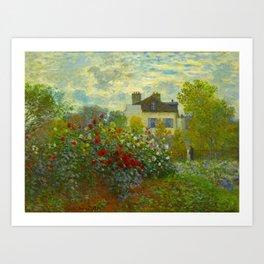 Claude Monet Impressionist Landscape Oil Painting A Corner of the Garden with Dahliass Art Print