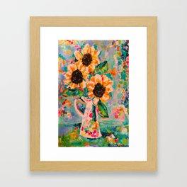 Sunflowers after the rain Framed Art Print