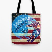 nfl Tote Bags featuring American Football  by MaNia Creations