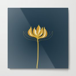 Fleur Exotique - Floral Minimalism in Mustard and Navy  Metal Print