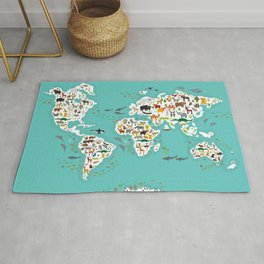 Cartoon animal world map for children and kids, Animals from all over the world back to school Rug