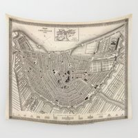 amsterdam Wall Tapestries featuring Amsterdam by Le petit Archiviste