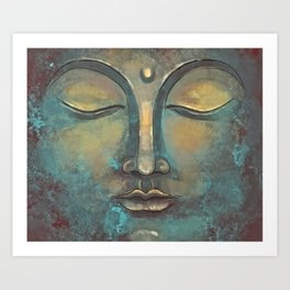 Rusty Golden Copper Buddha Face Watercolor Painting Art Print